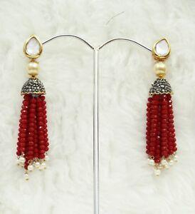 Image Is Loading Babosa Sakhi Cherry Red Beaded Long Kundan Antique