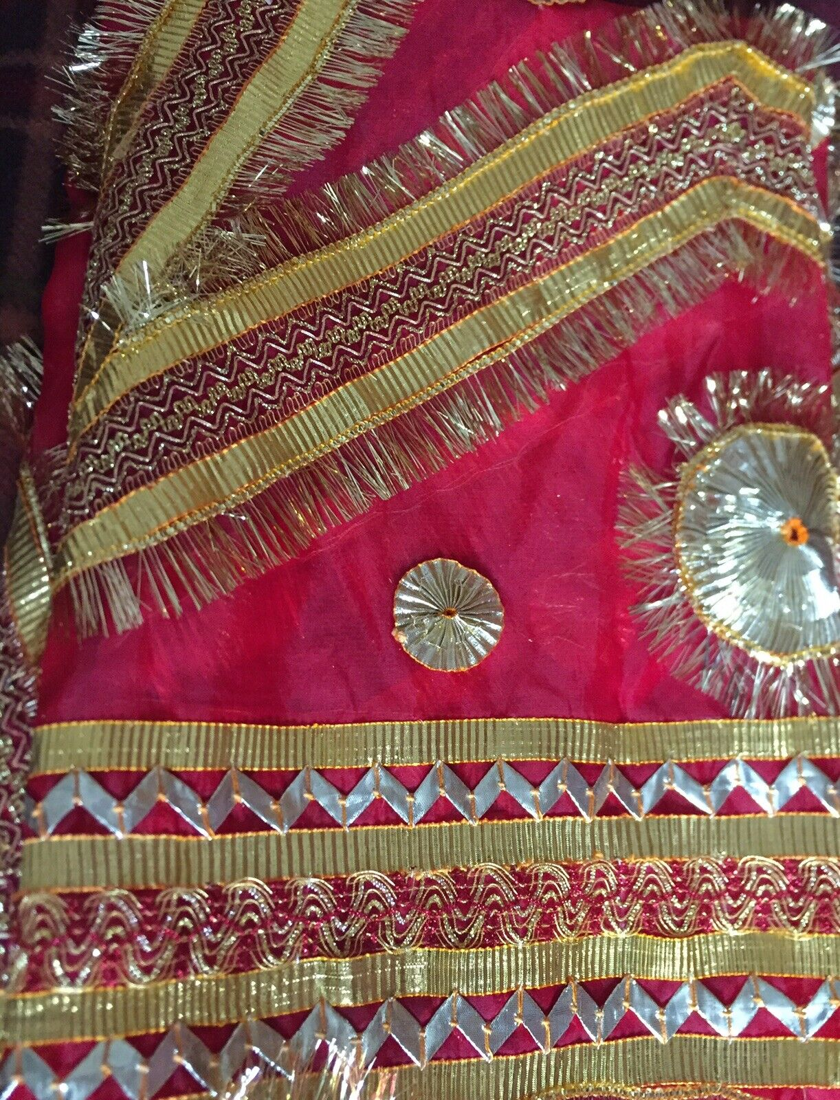 Beautiful Duppatta For Bride And Groom.in Red Colour,lace Work Is In All Dupatta