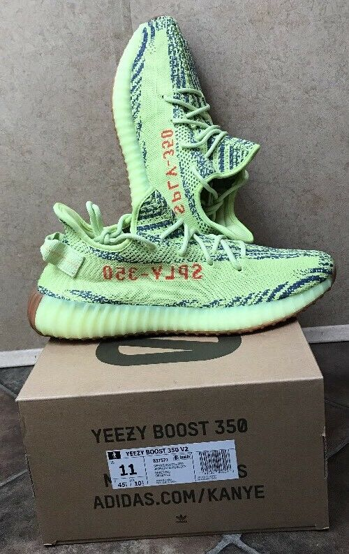 ADIDAS Kanye West YEEZY BOOST 350 V2 SEMI FROZEN YELLOW B37572 MENS SIZE 11