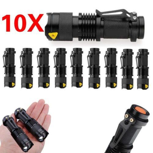 10pcs//10X Mini Q5 LED Flashlight Torch 6000LM Zoomable Lamp Light  14500//AA BATT