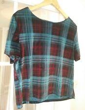 Topshop turquoise & red tartan check velvet velour loose crop T shirt top S 10