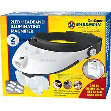 New 2 LED Headband Glasses Illuminated Magnifier Glass Lightweight  Adjustable