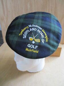 d072ddf7c Details about Turnberry St Andrews Scotland plaid cabbie golf newsboy cap  hat one size