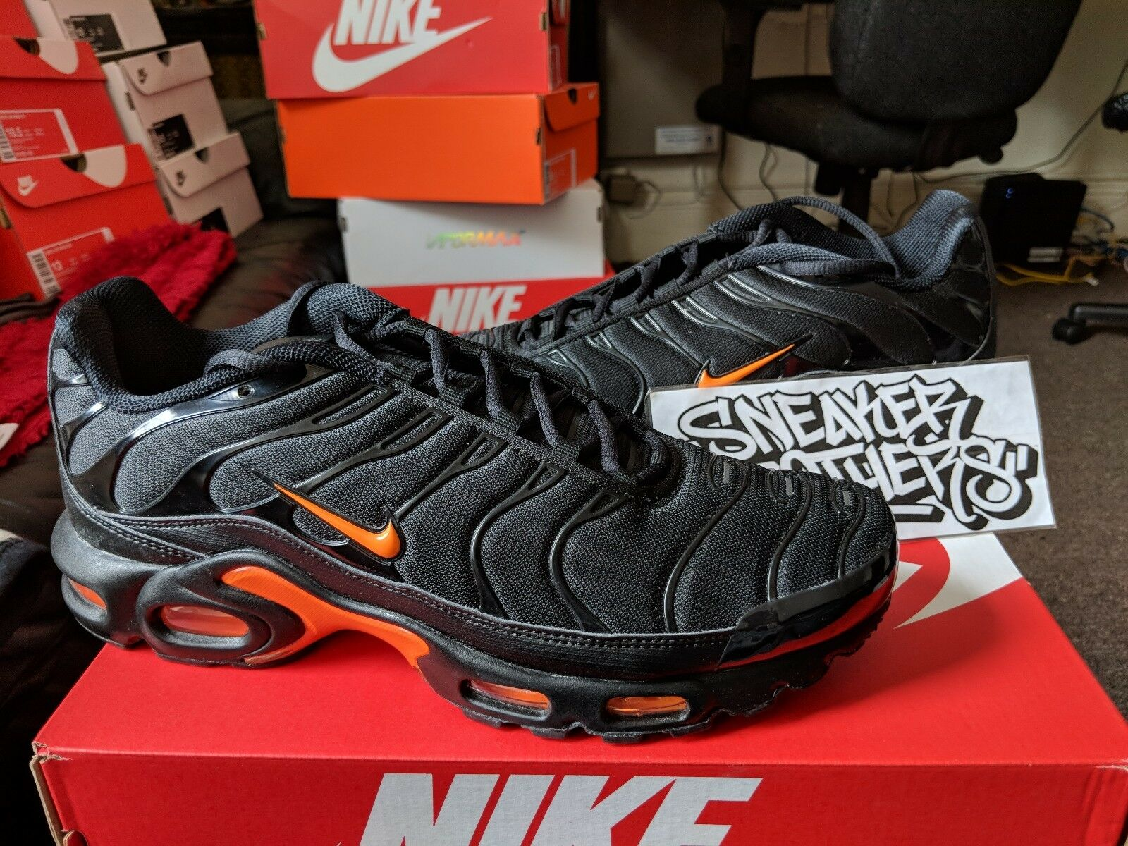Nike Air Max Plus TN Tuned 1 Black Total Orange Yellow Running Men's AO9564-001