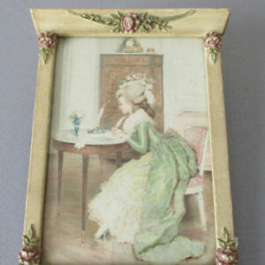 Antique-6-034-Miniature-Pier-TRUMEAU-Frame-Barbola-ROSES-French-Lady-Writing-Letter