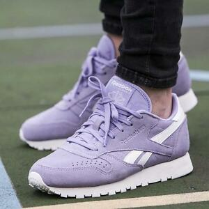 Image is loading Reebok-Classic-Leather-Suede-Core-Womens-Trainers-Moon-