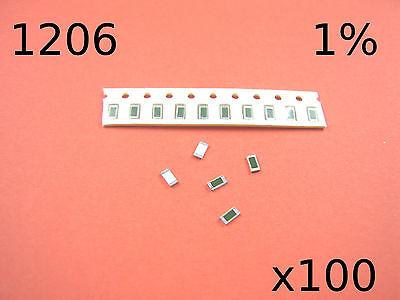 100x 1206 1% SMD RESISTORS 1R-91R RANGE
