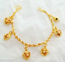 Baby Heart 23K 24K THAI BAHT YELLOW GOLD GP Charm Bracelet 5.5 inch Bb04