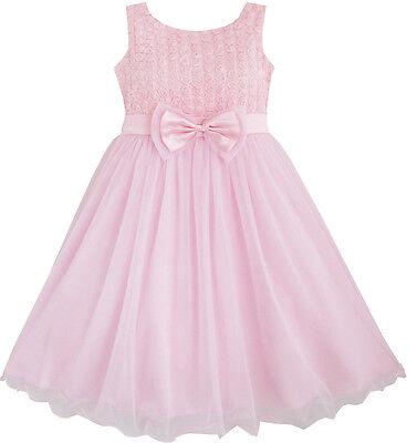 Sunny Fashion Flower Girl Dress Rose Flower Pink Wedding Bridesmaid Size 2-12