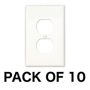 10-PACK-Electrical-Outlet-Wall-Face-Plate-Cover-Single-Duplex-Residential-WHITE