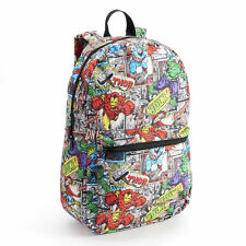 "Marvel Comics Art Super Hero Names Sublimination All over FULL Size 18"" Backpack"
