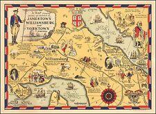 Jamestown Williamsburg and Yorktown in Virginia 1930 pictorial map POSTER 50623