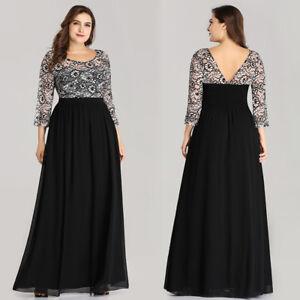 Long Ladies Cocktail Party Evening Lace Maxi Dress Size 8-22
