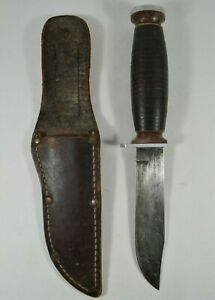 Vtg-SCHRADE-WALDEN-H-15-Bowie-Hunting-Knife-with-Leather-Sheath-Made-in-NY-USA