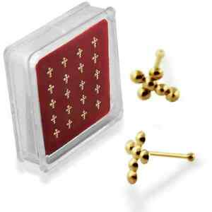 1-22g-6mm-GOLD-Plated-Cross-Nose-Stud-Ring-Pin-Bone-Piercing-Jewelry-N105-New