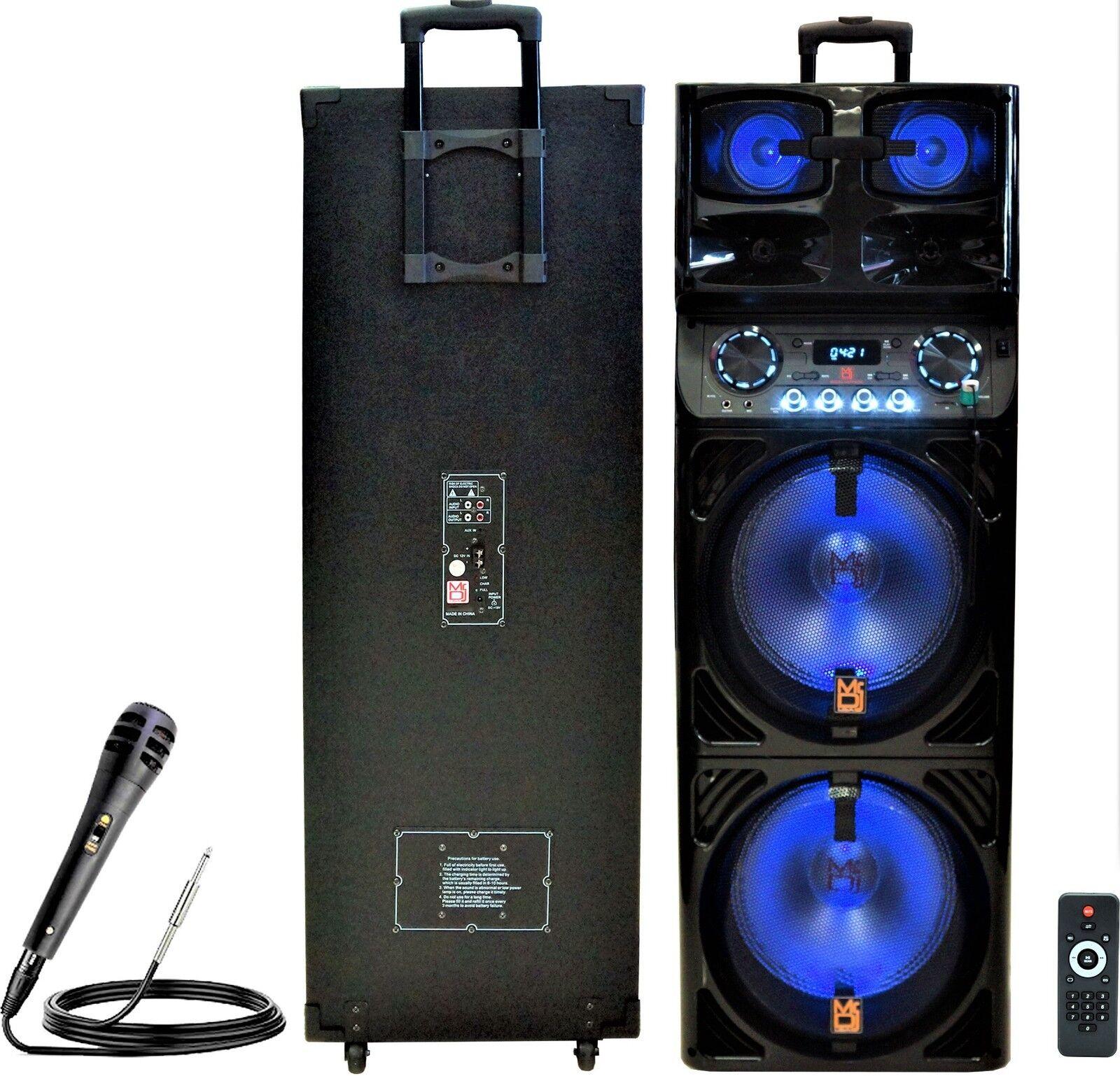 2 MR DJ SAPPHIRE Karaoke Portátil Dual 12  Pro Pro Pro Dj Activo Altavoz Micrófono de dirección pública caf00d