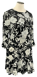 CHARTER-CLUB-2X-black-floral-stretch-knit-bell-sleeve-scoop-neck-knee-dress