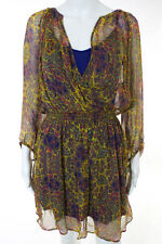 Ella Moss Multicolor Silk Abstract Print Long Sleeve Dress Size Large