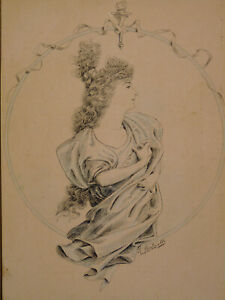 Aquarelle Ciraca 1900 Jeune Femme Gout Mucha Art Nouveau Ci Signé Rousselle Le Plus Grand Confort