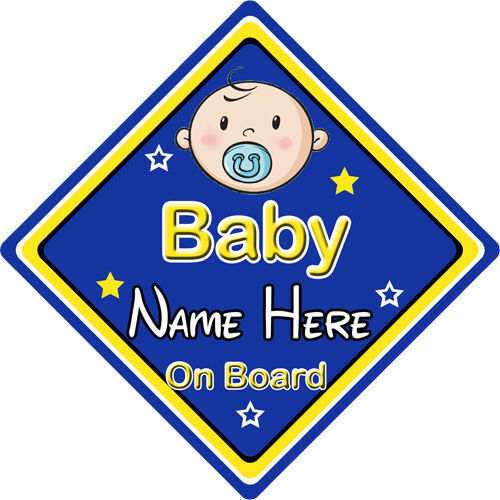 Personalised Child//Baby On Board Car Sign ~ Baby On Board ~ Blue
