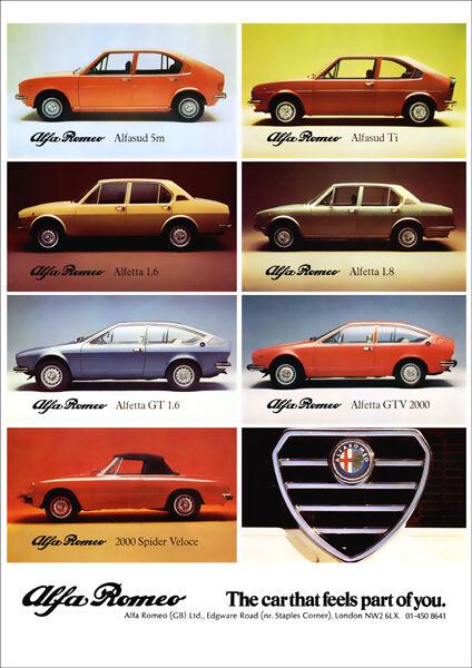 ALFA ROMEO GTV GT ALFASUD ALFETTA SPIDER RETRO A3 POSTER PRINT FROM 70'S ADVERT