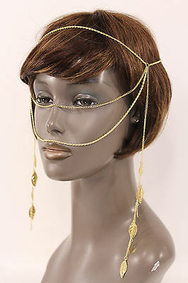 Women Gold Head Metal Chain Fashion Jewelry Face Long Side Tassle Leaves Strand
