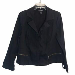 Lane Bryant Women Size 20 Jacket Moto Style Black Stretch Zip Up Blazer Pockets