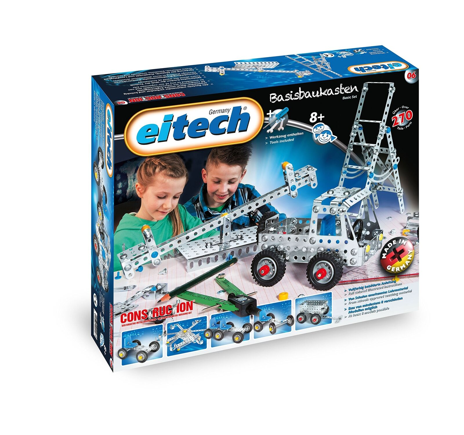 Eitech C06 Metal Construction Set Basic 270 Set 270 Basic Pieces Building Kit 934001