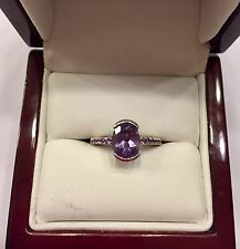 14k 14kt White Gold Amethyst Solitaire With Accent Ring 3 Grams Size 4.5