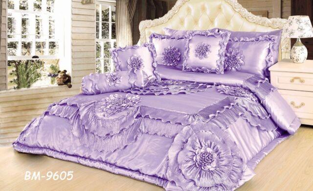 Tache 6 PC Floral Purple Lilac Lavender Fields Ruffle Satin Comforter Quilt Set