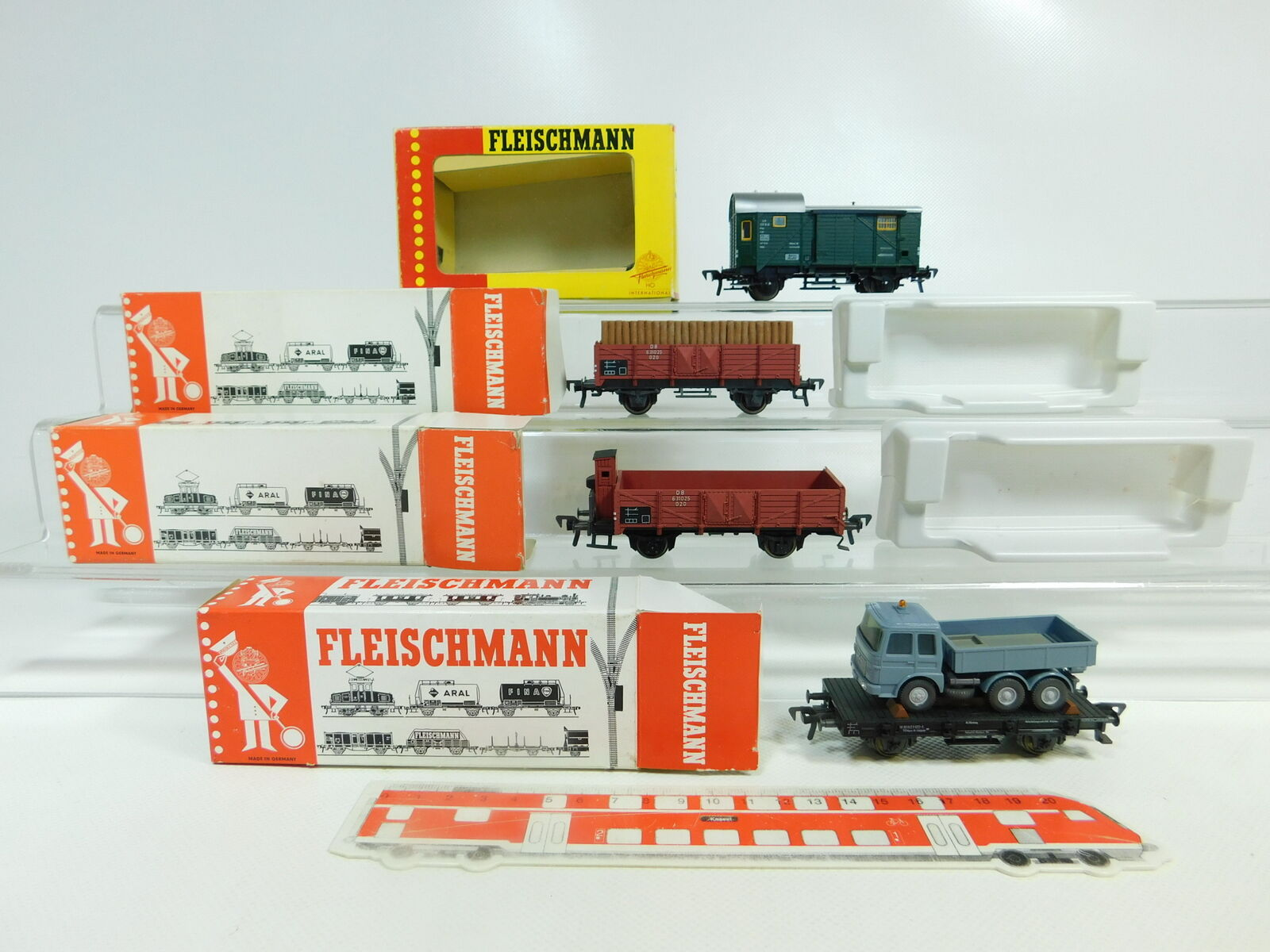 BR57-0,5 x Fleischmann H0 Dc Carro Merci Ecc. Db   1469+1454 N +1485 +5219 S.G