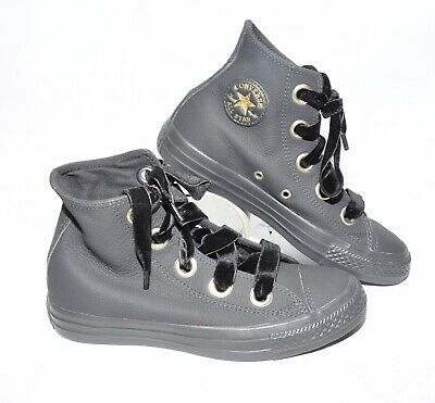 NWOB CONVERSE Chuck Taylor Genuine Leather Black Hi Top Shoes Womens 6 All Star | eBay