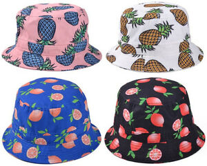 Image is loading Bucket-Hat-Orange-Citrus-Pineapple-Banana-Watermelon-Fruit- f54ff6067dd