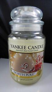 Yankee-Candle-22-oz-North-Pole-Glass-Large-Jar-Lightly-Burned-Old-Style-Label