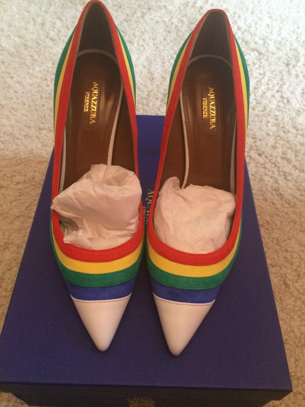 Descuento de liquidación AQUAZZURA Graphic Rainbow Striped Suede Pump Heels Shoes
