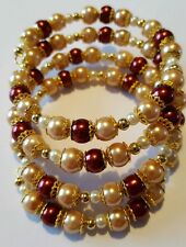 New Handmade Red Burgundy Brown Golden Multi Coiled Beaded Memory Wire Bracelet