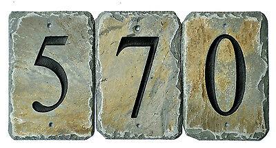 HOUSE NUMBER STONE TILES / Address /SIGN /CARVED SLATE/ MARKER/ Natural #E9
