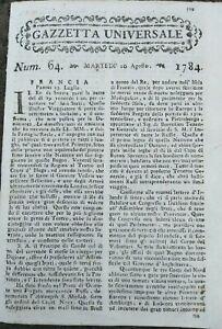 1784-GAZZETTA-UNIVERSALE-MOSTRO-MARINO-A-LA-SPEZIA-BALLERINO-AUGUSTE-VESTRIS