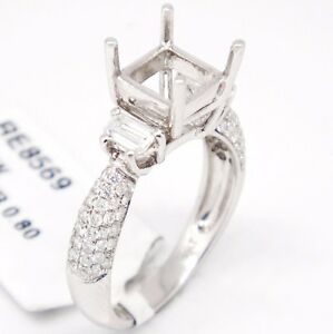 18k White Gold VS1,G 0.80tcw Three Stone Engagement Accent Semi Mount Ring 6.5