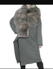 $7.5K Palais Royal Rick Owens Opossum Fur Cashmere Gray Long Coat Jacket 40 RARE