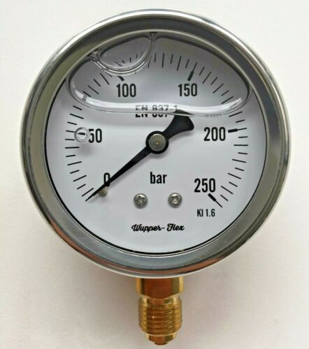 Anschluss auswallbar Aktion Edelstahl Manometer Ø 63 mm Glycerin