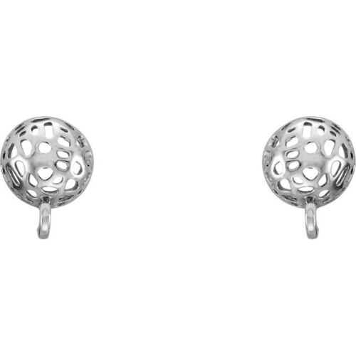 Sterling Silver Rhodium Plated Button Friction Post Stud Earrings w//Ring 2 PCS