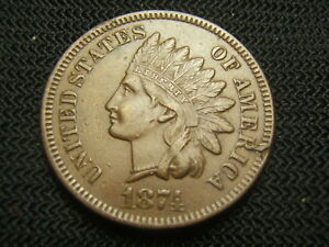 1874-Nice-Brown-About-Uncirculated-AU-Indian-copper-Cent-post-civil-war-era