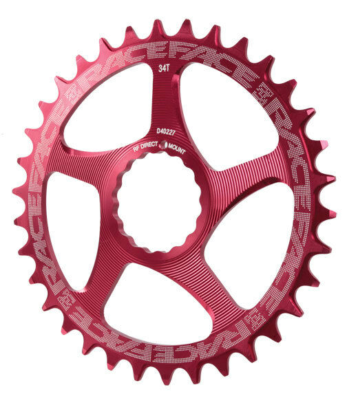 Race Face Single Narrow Wide 1x MTB Direct Mount Cinch Chainring 34t Red