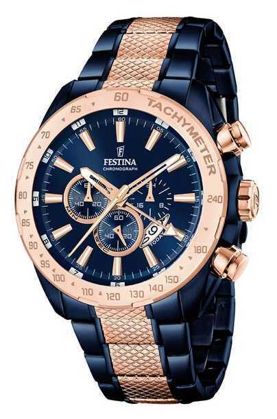 Festina Mens Two Tone Blue Rose Gold Chronograph F16886/1 Watch - 5% OFF!