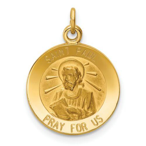 Massif de Saint Paul priez pour nous des mots sur rond médaille pendentif en 14k or Jaune