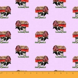 Soimoi-Fabric-Barn-amp-Cow-Farm-Print-Fabric-by-the-Yard-FM-502O
