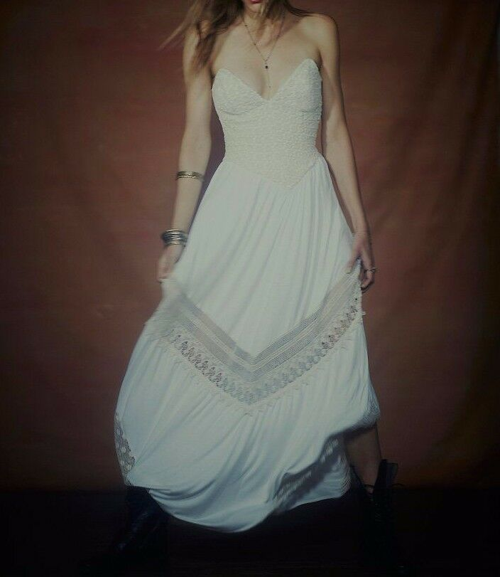 NWOT FREE PEOPLE x JENS PIRATE BOOTY Crochet Lace Strapless Maxi Dress  ☮ SMALL