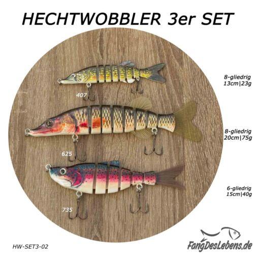 Hechtwobbler 3er-Set SetAngebot versch Raubfisch Hecht Formen Farben Größen