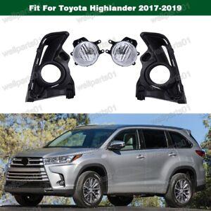 Clear-Fog-Light-Lamp-Kit-w-Cover-For-Toyota-Highlander-2017-2019
